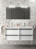 Salgar Attila white gloss lacquered 1200 fürdőszobabútor szett (2fiókos szekrény, mosdó, tükör, led világítás)