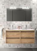 Salgar Attila ostippo oak 1200 fürdőszobabútor szett (2fiókos szekrény, mosdó, tükör, led világítás)