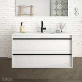Salgar Attila white gloss lacquered 1000 fürdőszoba bútor + mosdó