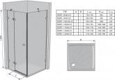 Ravak Brilliant BSDPS 120x80 cm B/J zuhanykabin, B Set-120