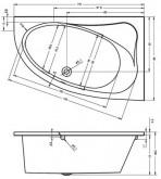 Riho Lyra kád 153,5x100 cm / 230 L