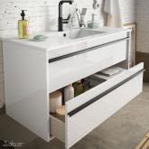 Salgar Attila white gloss lacquered 800 fürdőszoba bútor + mosdó
