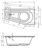 Riho Delta kád 160x80 cm / 210 L