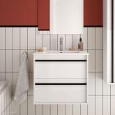 Salgar Attila white gloss lacquered 600 fürdőszoba bútor + mosdó