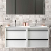 Salgar Attila white gloss lacquered 1200 fürdőszoba bútor + mosdó