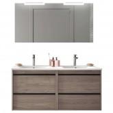 Salgar Attila eternity oak 1200 fürdőszobabútor szett (2fiókos szekrény, mosdó, tükör, led világítás)