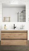 Salgar Attila ostippo oak 1000 fürdőszobabútor szett (2fiókos szekrény, mosdó, tükör, led világítás)